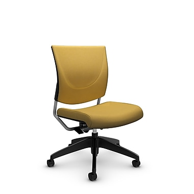 Global® (2737 IM73) Graphic Posture Armless Chair, Imprint Currie Fabric, Yellow