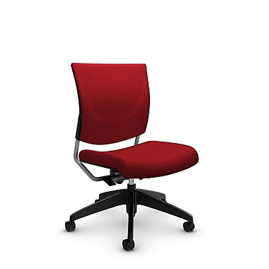 Global® (2737 IM74) Graphic Posture Armless Chair, Imprint Candy Apple Fabric, Red