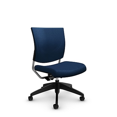 Global® (2737 MT26) Graphic Posture Armless Chair, Match Wave Fabric, Blue