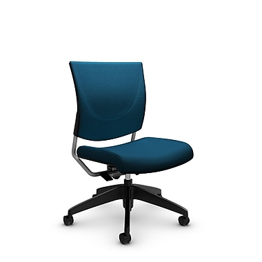 Global® (2737 IM76) Graphic Posture Armless Chair, Imprint Navy Fabric, Blue