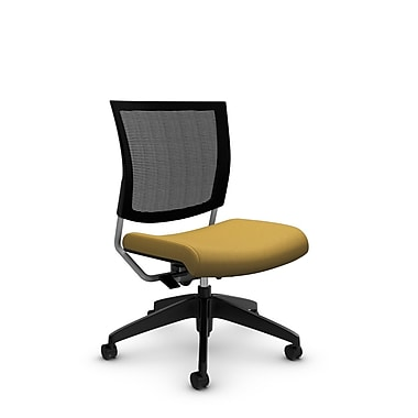 Global® (2736MB IM73) Graphic Mesh Posture Armless Chair, Imprint Currie Fabric, Yellow