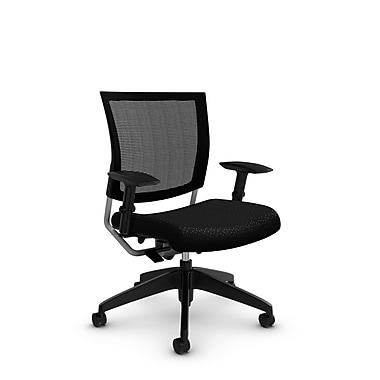 Global® (2738MB MT32) Graphic Mesh Posture Chair, Match Black Fabric, Black