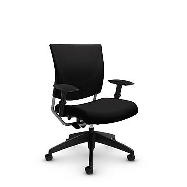 Global® (2739 IM84) Graphic Posture Chair, Imprint Licorice Fabric, Black