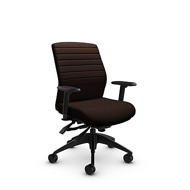 Global® (2852-3 IM80) Aspen Mid Back Multi Tilter, Imprint Walnut Fabric, Brown