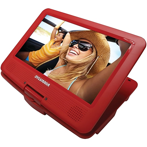 """Sylvania 9"""" Portable DVD Players With 5-hour Battery (red)"""