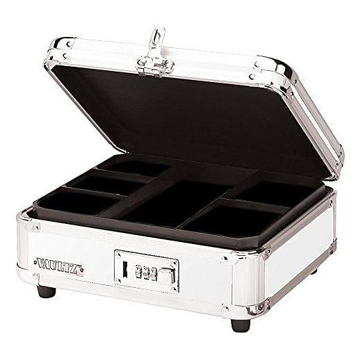 "Vaultz® Locking Cash Box, 4"" x 10"" x 8"", White (VZ00172)"