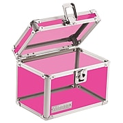 "Vaultz®, Locking 4"" x 6"" Index Card Box, Acrylic Pink (VZ00208)"