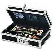 "Vaultz® Locking Mini Cash Box with Tray, 2.75"" x 8.5"" x 5.5"", Black (VZ00304)"