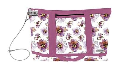 Vaultz® Locking Zipper Tote Bag, Pink/Purple Floral (VZ00679)