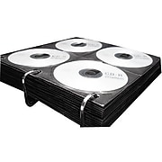 """Vaultz® CD Insert Pages, 3 Hole Punched, 12"""" x 11"""", 8 CDs/Page, 50 Pages/Pack, Black (VZ01415)"""