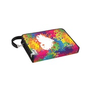"""Vaultz® Locking Sketch Folio with Tether and Shoulder Strap, 2"""" x 10"""" x 14"""", Rainbow Splatter (VZ03481)"""
