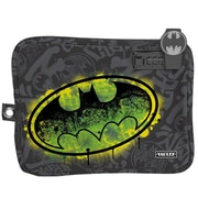 "Vaultz® Medium Electronics Pouch with Tether, 7.5"" x 9"", Gray Batman Graffiti (VZ03545)"
