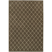"""StyleHaven Transitional Lattice Polypropylene/ Polyester 5'3"""" X 7'6"""" Brown/Ivory Area Rug (WELR090N45X8L)"""
