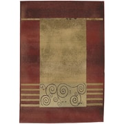 "StyleHaven Transitional Border Polypropylene 7'10"" X 11' Red/Beige Area Rug (WGNR213R18X11L)"