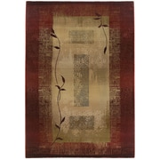 "StyleHaven Transitional Border Polypropylene 7'10"" X 11' Red/Beige Area Rug (WGNR544X18X11L)"