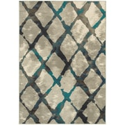 "StyleHaven Contemporary Lattice Polypropylene 5'3"" X 7'6"" Grey/Blue Area Rug (WHIG6613A5X8L)"