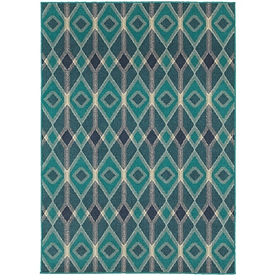 "StyleHaven Transitional Diamonds Polypropylene 3'10"" X 5'5"" Blue/Teal Area Rug (WHIG6627B4X6L)"