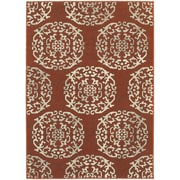 "StyleHaven Transitional Floral Medallion Polypropylene 6'7""X9'6"" Red/Beige Area Rug (WHIG6672B6X9L)"