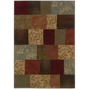 "StyleHaven Transitional Botantical Blocks Polypropylene 5'3""X7'6"" Green/Red Area Rug (WHUD030C15X8L)"
