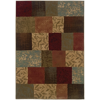 "StyleHaven Transitional Botantical Blocks Polypropylene 7'8""X10'10"" Green/Red Rug (WHUD030C18X11L)"