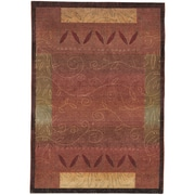 "StyleHaven Transitional Vines Polypropylene 4'X 5'9"" Red/Gold Area Rug (WKHA439R44X6L)"