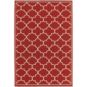 "StyleHaven Outdoor Lattice Polypropylene 6'7"" X 9'6"" Red/Ivory Area Rug (WMEI1295R6X9L)"