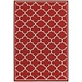 "StyleHaven Outdoor Lattice Polypropylene 3'7"" X 5'6"" Red/Ivory Area Rug (WMEI1295R4X6L)"