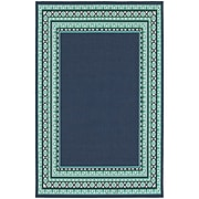 "StyleHaven Transitional Border Polypropylene 7'10"" X 10'10"" Navy/Green Area Rug (WMEI9650B8X11L)"