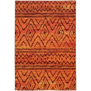 "StyleHaven Contemporary Abstract Polypropylene 5'3"" X 7'6"" Orange/Red Area Rug (WNOM8122O5X8L)"