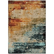 """StyleHaven Contemp Eroded Abstract Nylon/Polypropylene 3'10""""X5'5"""" Blue/Red Area Rug (WSDN6365A4X6L)"""