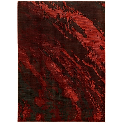 "StyleHaven Contemporary Marble Nylon/Polypropylene 5'3"" X 7'6"" Red/Grey Area Rug (WSDN6367B5X8L)"