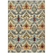 "StyleHaven Transitional Tribal Ikat Nylon/Polypropylene 3'10""X5'5"" Ivory/Grey Area Rug WSDN6371C4X6L"