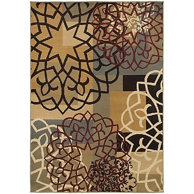"""StyleHaven Transitional Block and Floral Polypropylene 5'3""""X7'3"""" Multi/Gold Area Rug (WSTN6021B5X8L)"""