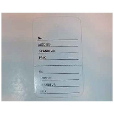Displetech 2 Part French Tag, 1-3/4''x3'', White Printed Black, 1000/Pack (7910018)