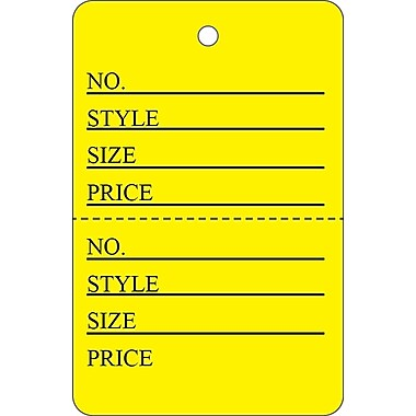Garment Tag A, Yellow Garment Tag, 1 5/8