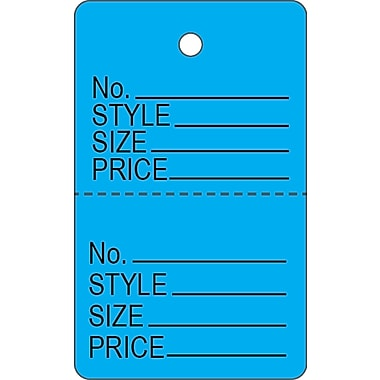 Garment Tag C, Blue Garment Tag, 1 3/16