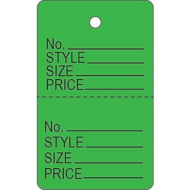Garment Tag C, Green Garment Tag, 1 3/16