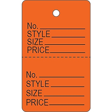 Garment Tag C, Orange Garment Tag, 1 3/16