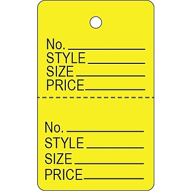 Garment Tag C, Yellow Garment Tag, 1 3/16