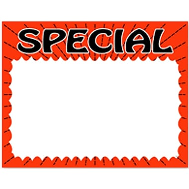 Special Show Card, Fluorescent Red Boarder, 3.5
