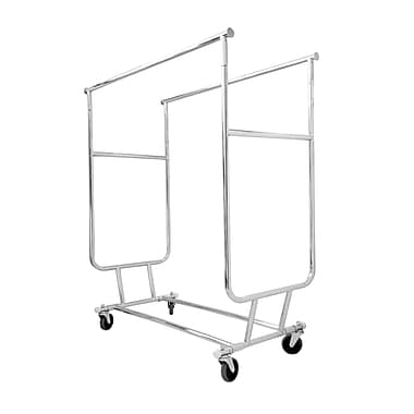 Double Collapsible Salesman's Garment Rack, Adjustable Height At 55