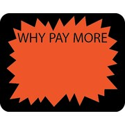 Autocollant «Why Pay Morel», 1 3/6 po x 1 1/2 po, 1000/rouleau