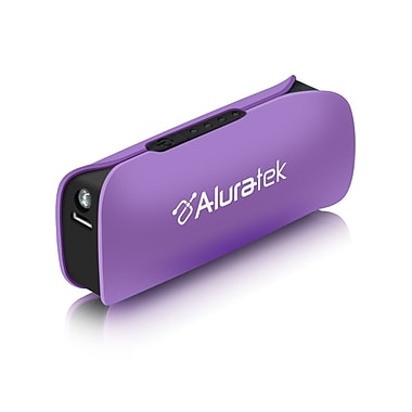 Aluratek 2600 mAh Portable Battery Charger with Built-In Flashlight, Purple (APBL01FV)