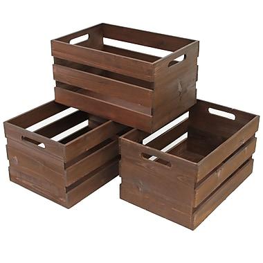 Cathay Importers – Caisse de rangement en bois rustique rect., 15 po x 10 po x 8 po, ensemble de 3, brun foncé, (EC-10-2213)