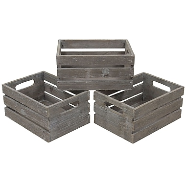 Cathay Importers Distressed Rect Wood Storage Crate, 9.5