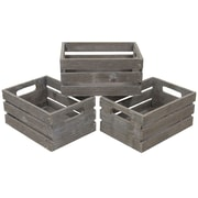 Cathay Importers Distressed Rect Wood Storage Crates, 3-Piece Set, Grey Wash