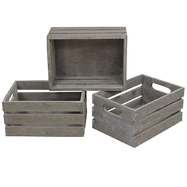 Cathay Importers Distressed Rect Wood Storage Crate, 12