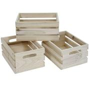 Cathay Importers – Caisses de rangement en bois naturel rectangulaires, ensemble de 3 caisses