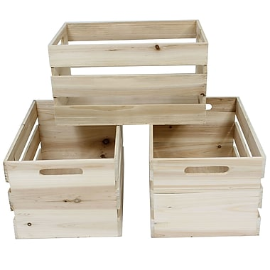 Cathay Importers Natural Rect Wood Storage Crate, 15