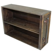 """Cathay Importers 2-Tier Rustic Brown Wood Storage Wall Shelf w/Antique Decorative Metal Side Rails, 25.5""""W x 7""""D x 16""""H"""